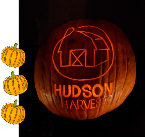photo of the Hudson Harvest logo carved into a jack o' lantern