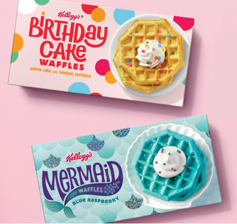 Kellogg Birthday Cake and Mermaid waffles packaging
