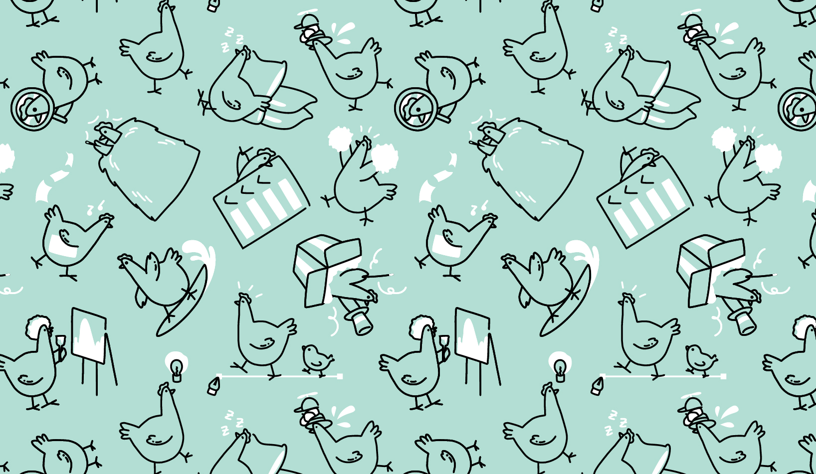 branded chicken illustration pattern