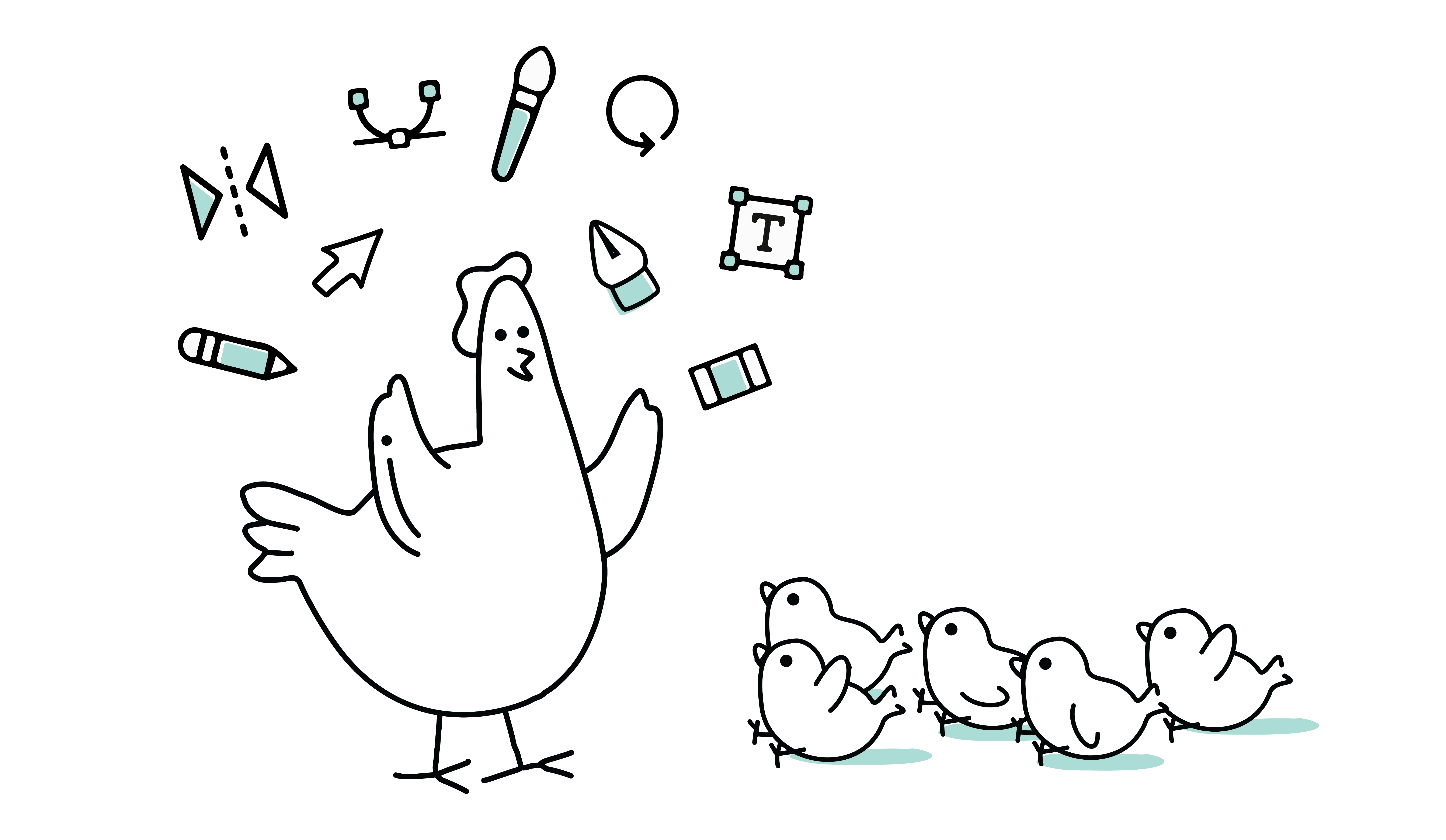 illustration depicting a chicken making design accessible to chicks
