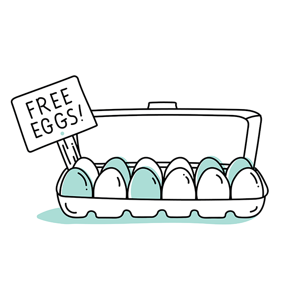 "illustration depicting a carton of eggs and a sign that reads, ""Free eggs!"""