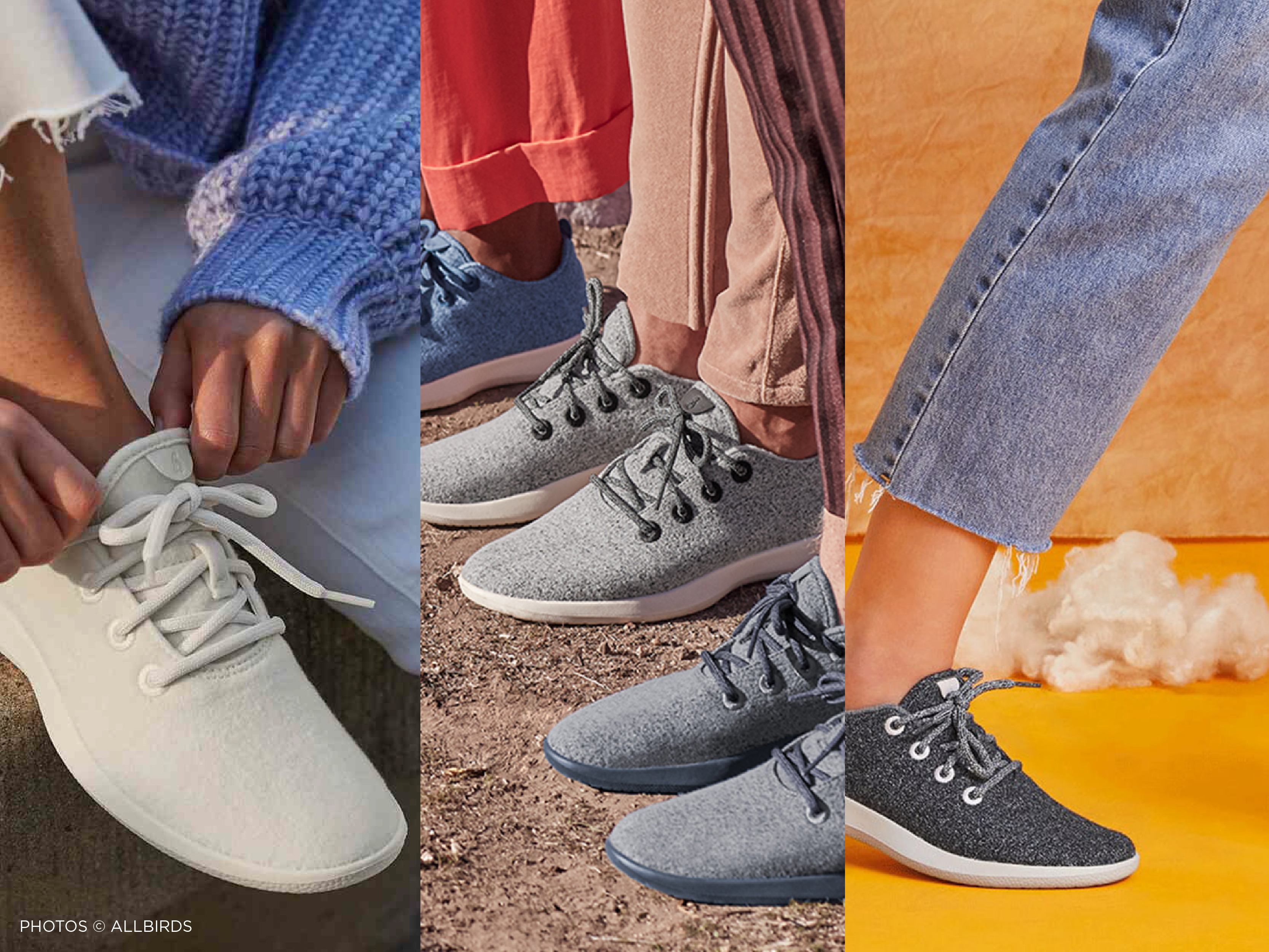 triptych image featuring All Bird's sustainable shoes