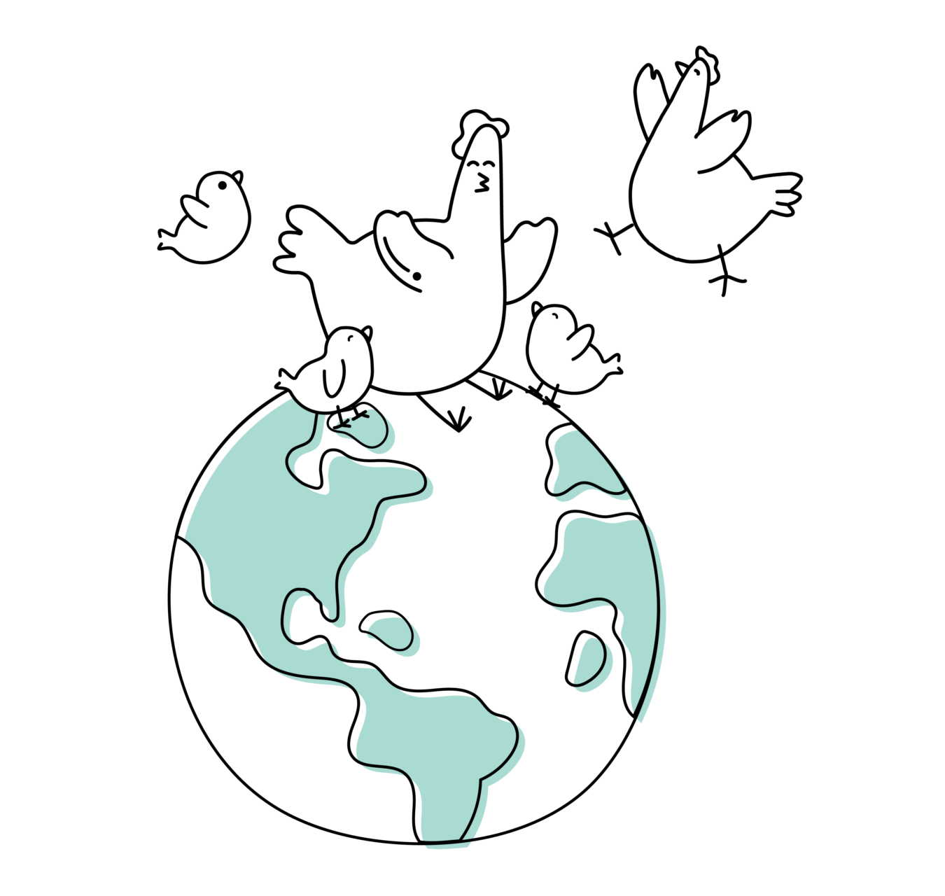 illustration depicting happy chickens interacting with planet earth