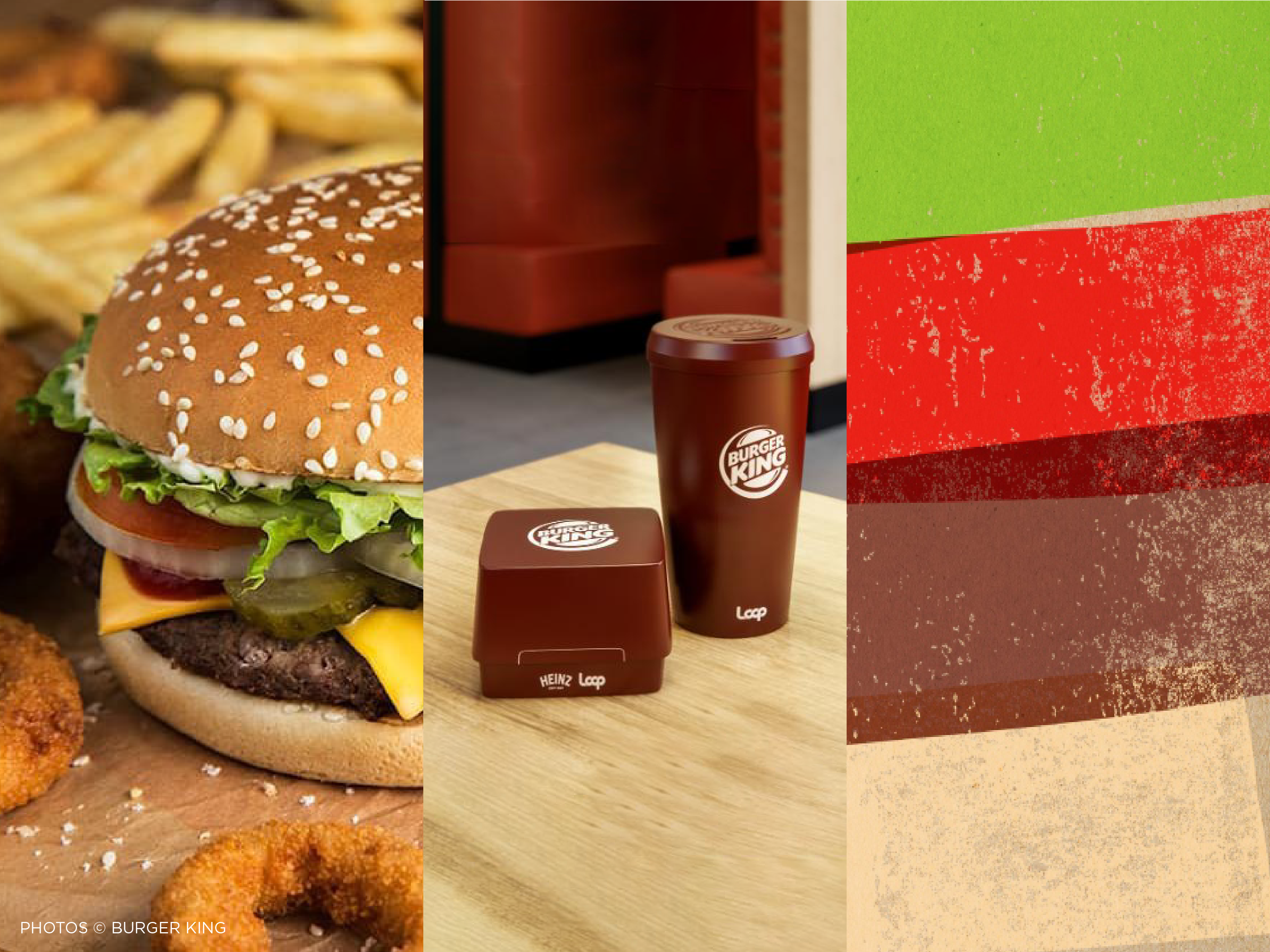 triptych image featuring Burger King's new reusable packaging