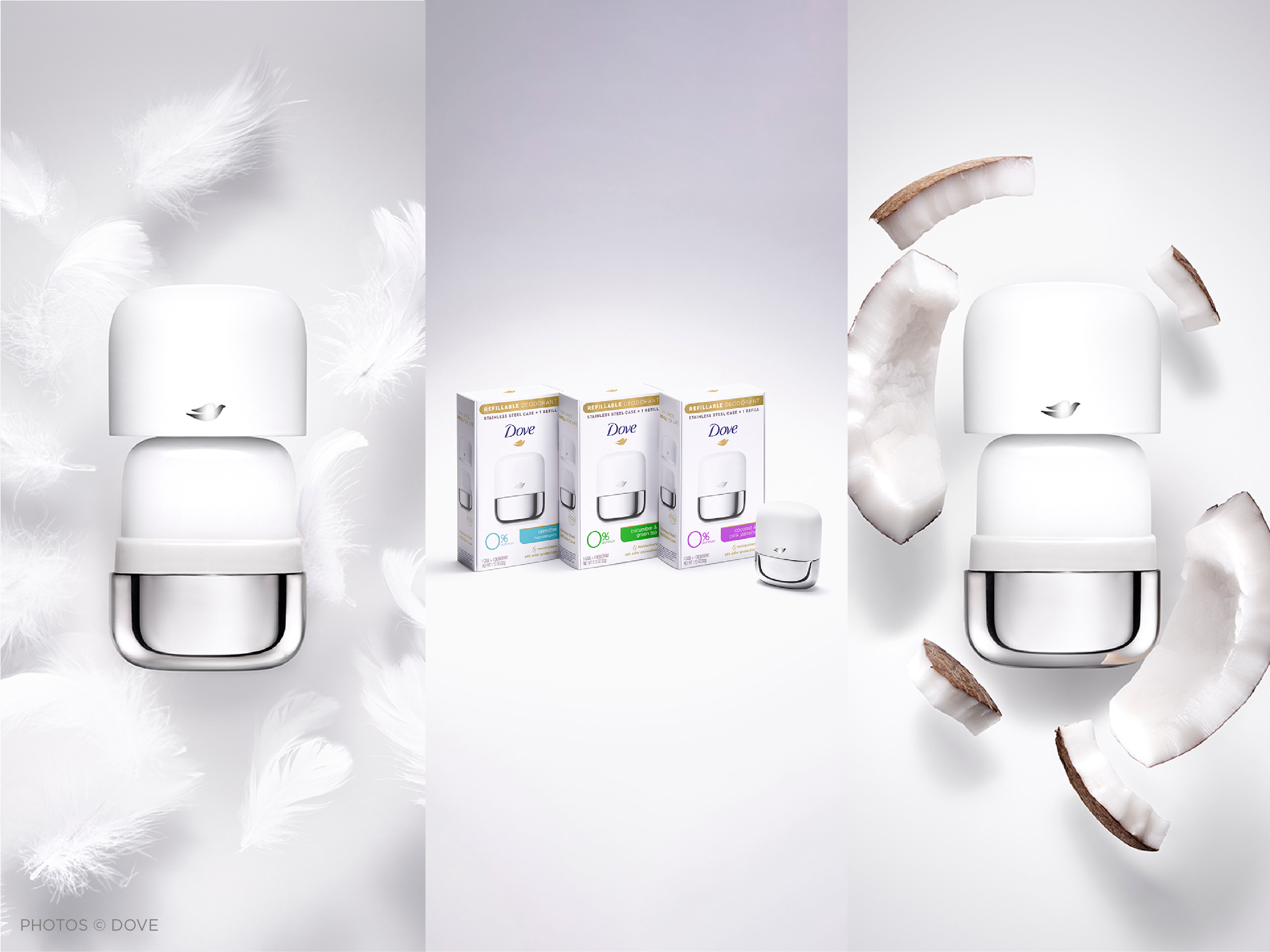 triptych image featuring Dove's new refillable deodorant